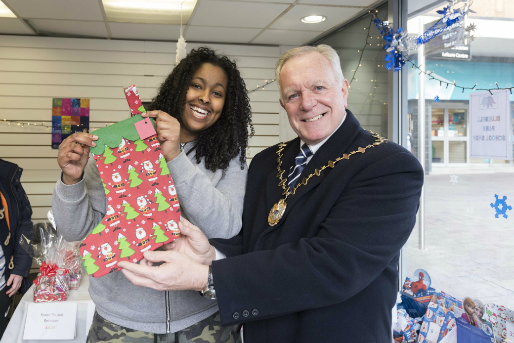 Bluebell Park student Ekran with Mayor of Knowsley, Cllr Frank Walsh