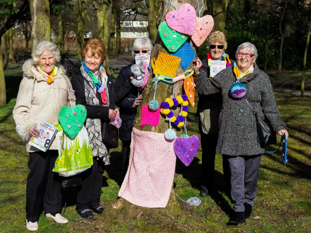 The knitwits group with the decorations they have knitted for the Feelgood Festival and Knowsley Flower Show
