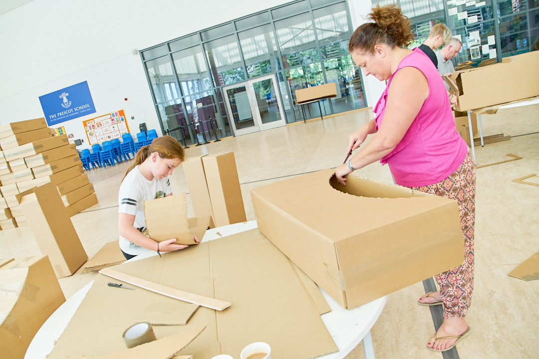 Volunteers help build Knowsley's Lost Castle at a workshop at The Prescot School.