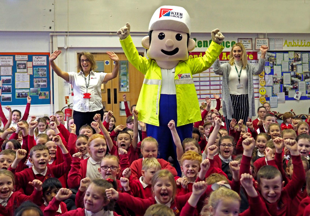 Children from St Leo's and Southmead Primary had a visit from Keir mascot, Keiron, as they learnt about Prescot's new Shakespeare North Playhouse.