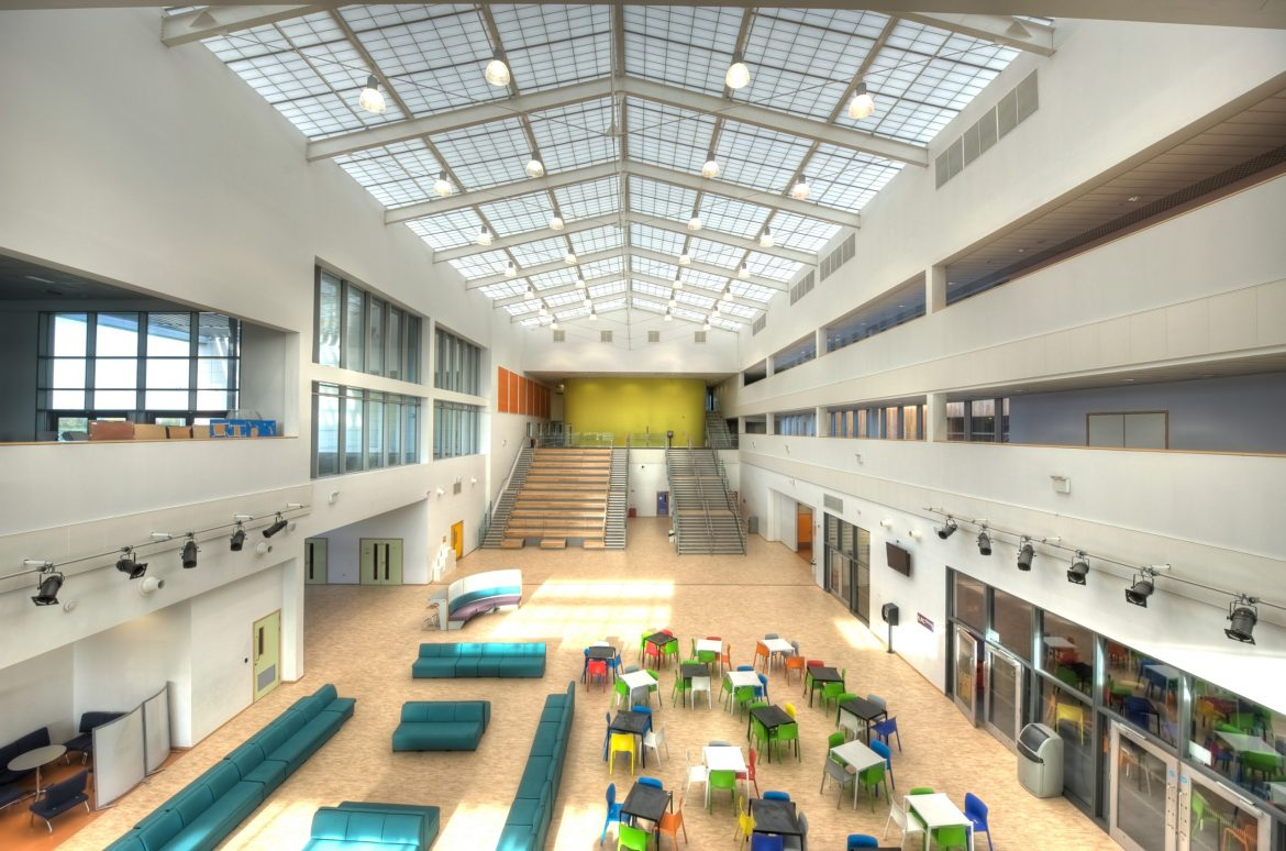 Inside the atrium of one of Knowsley's high schools