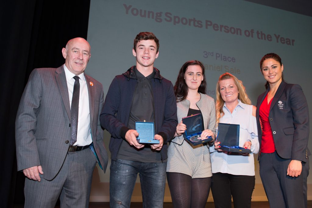 Winners and runners up of Young Sports Person of the Year with Cllr Eddie Connor and Sam Quek