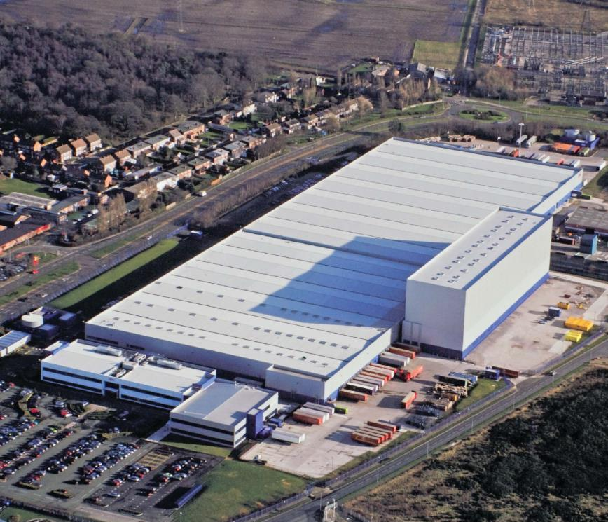 Aerial shot of QVC building in Kirkby, Knowsley
