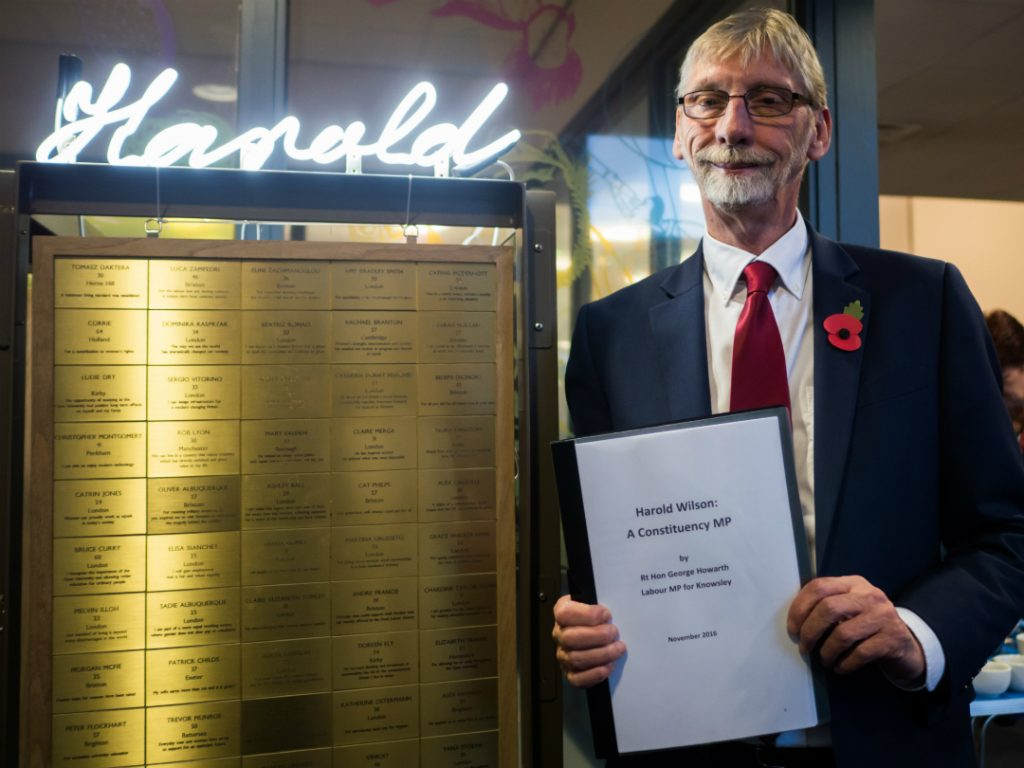 George Howarth MP standing in front of the With Thanks to Harold artwork