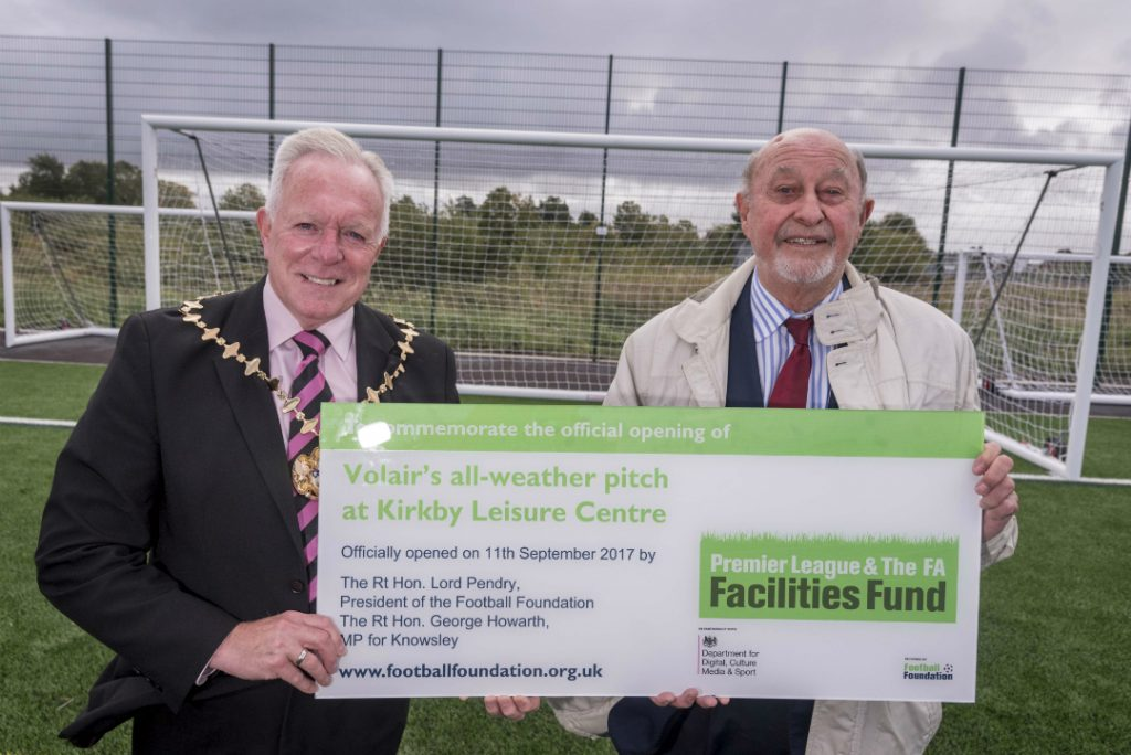 Mayor of Knowsley, Cllr Frank Walsh, and Lord Pendry, President of the Football Foundation, at the official opening of Kirkby's new 3G pitch