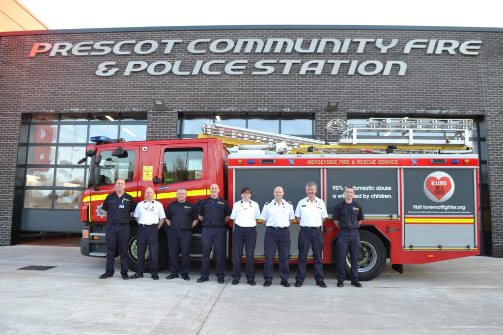 Fire crew move into their new station, with MFRS Chief Fire Officer Dan Stephens and Station Manager Lauren McCormack pictured sixth and fifth from left, respectively