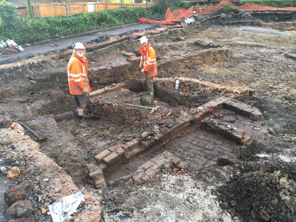 Archaeologists Andy Coutts and Rob Howarth in the location of possible kiln/waster pit at Mill Street in Prescot.