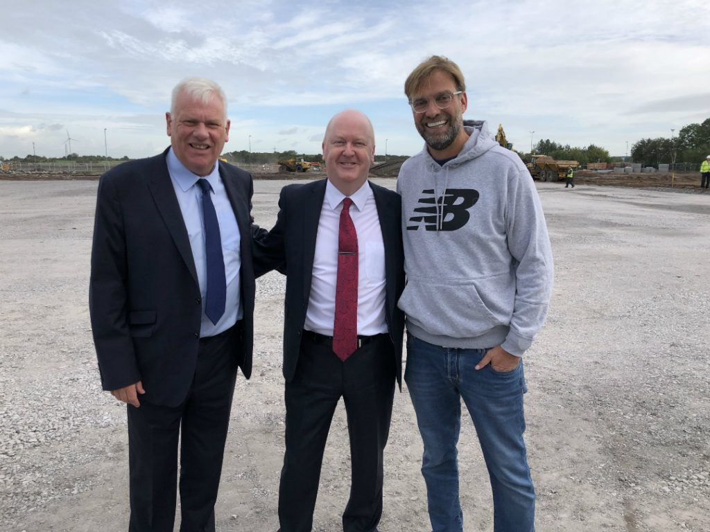 Cllr Graham Morgan, Leader of Knowsley Council, pictured with Mike Harden, Chief Executive of Knowsley Council, and Jurgen Klopp, LFC Manager, at the Ground Breaking Ceremony at the new LFC Training Academy in Kirkby.