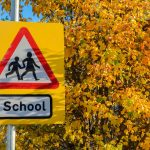 School warning road sign