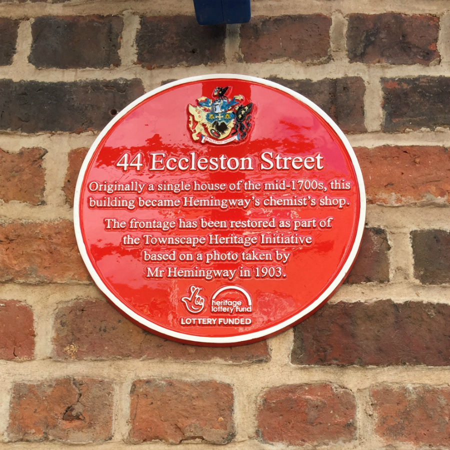 One of the new 'red plaques', which form a heritage trail around Prescot