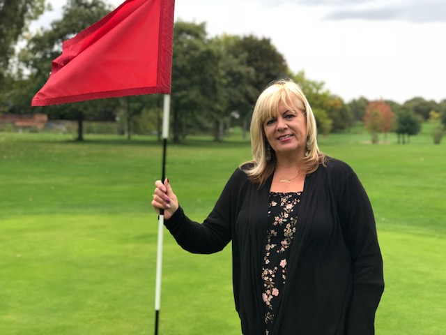 Cllr Shelley Powell, Knowsley Cabinet's Cabinet Member for Communities and Neighbourhoods, at Hole 1 of Bowring Park Golf Course, which has been saved from closure by the Council.