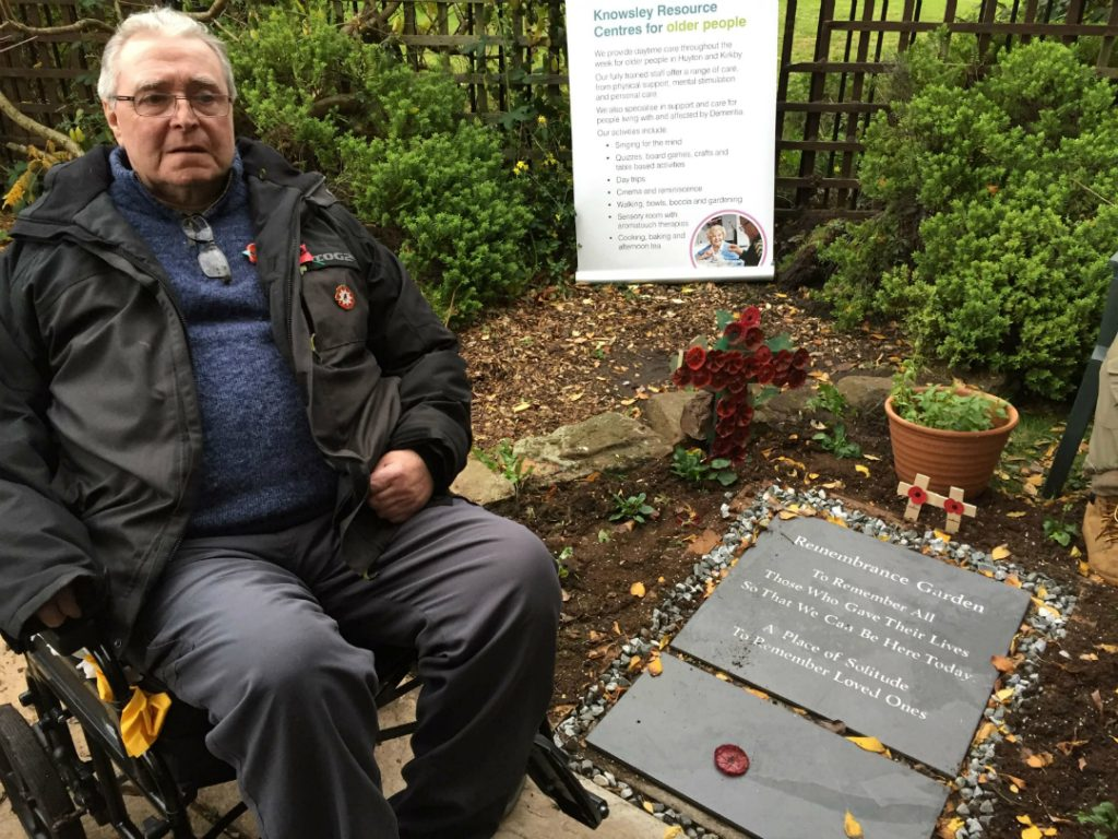 A lasting memorial to those who lost their lives in the two World Wars is taking pride of place in a new community garden used by locals attending Knowsley Council's Older People's Day Centre in Huyton.