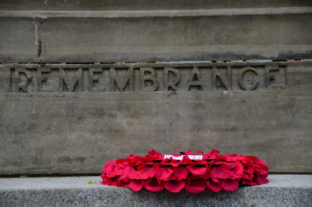 Wreath laid at the Cenotaph for Remembrance Day