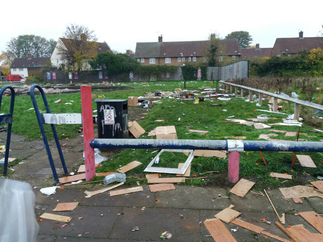 The aftermath of illegal fires set on Reeds Road, Huyton, on Bonfire Night