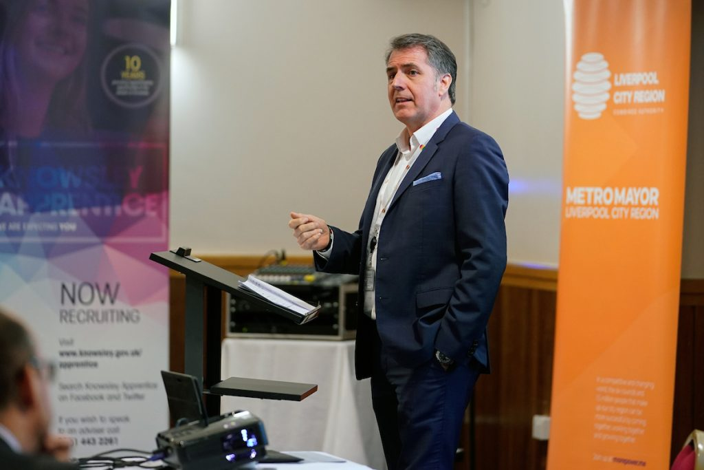 Steve Rotheram. Metro Mayor of the Liverpool City Region, at the Employability Skills Plan launch in Knowsley