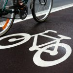 Bike being ridden along cycle lane