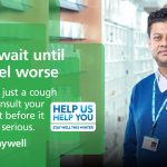 NHS poster of pharmacist advising patients to visit the pharmacy for minor illnesses