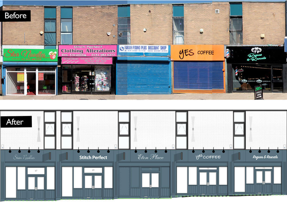 Before-and-after Huyton village centre shopfronts