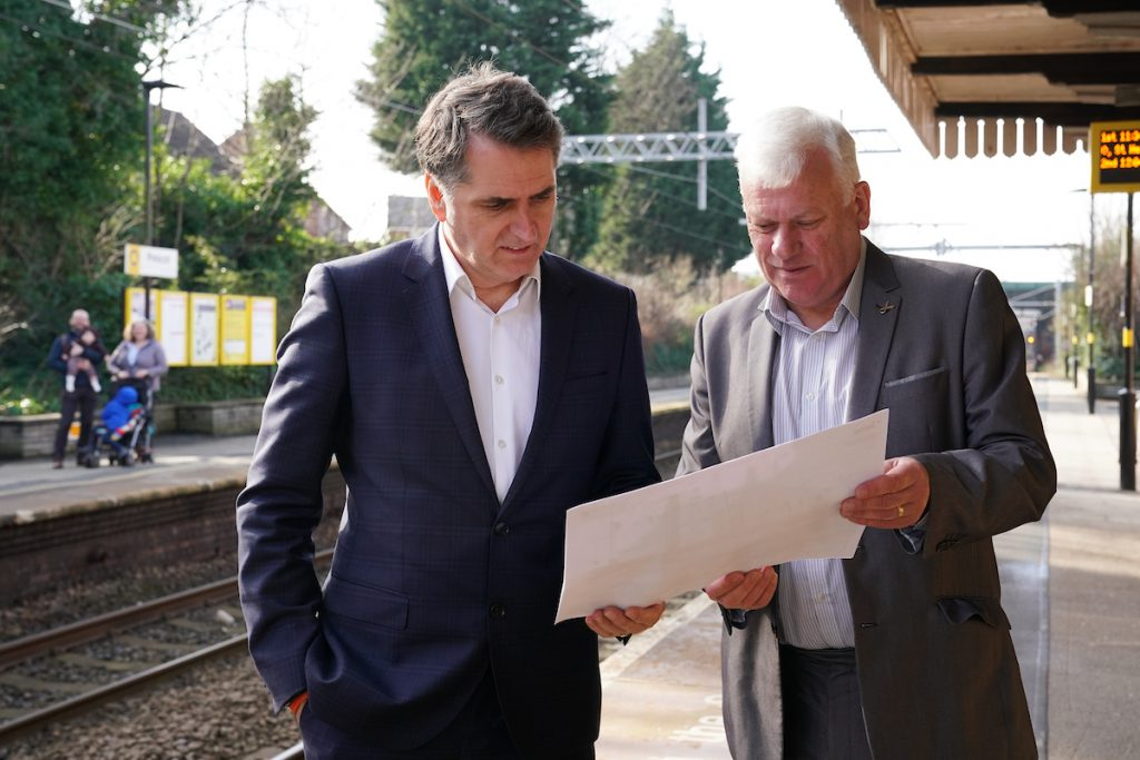 Cllr Graham Morgan and Metro Mayor Steve Rotheram discussing the plans to improve Prescot train station
